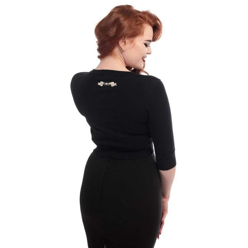 Collectif 50s Lucy True Love Black Cardigan