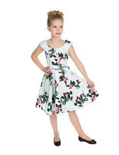 Hearts & Roses Girl's Blue Pink Roses Swing Dress