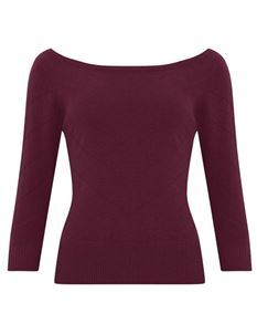 Collectif Bardot Boat Neck Burgundy Jumper