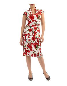 Eucalyptus 50s Style Knee-Length Rose Chinese Collar Fitted Dress