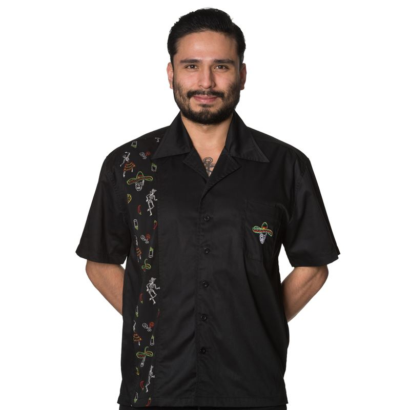 Banned Mens Midnight City Black Shirt With One Panel