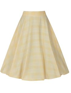 Hell Bunny Joy 50s Short Summer Check Yellow Mid Skirt