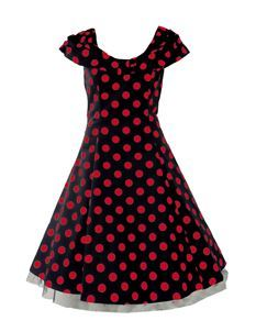 H&R London 50's Collar Dress Big Polka Dot Red