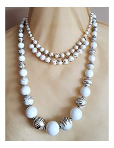 Shazazz Jewellery Double Row White And Gold Beads