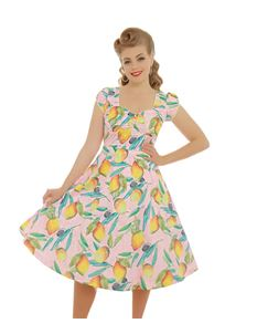 Lindy Bop Bella Pink Lemons Dress UK 14