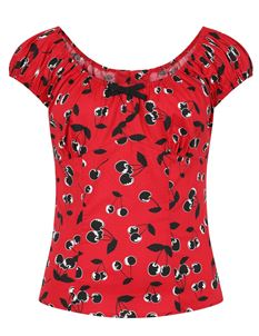 Hell Bunny Alison Cherry 50s Style Gypsy Top