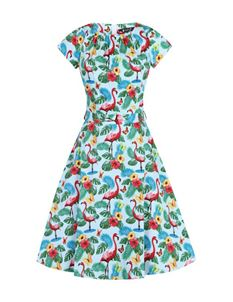 Lady Vintage Flamboyant Flamingo Butterfly Day Dress
