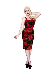 SALE UK 8 10 12 & 14 Vanity Project 50s Poinsettia Wiggle Dress