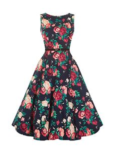 Lady Vintage 50's Winter Floral Dress Black