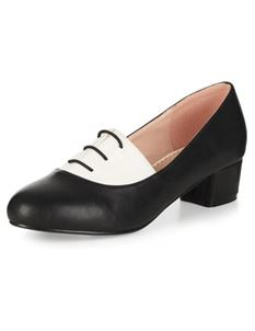 Lulu Hun 40s Sofia Black & White Block Heel Shoes
