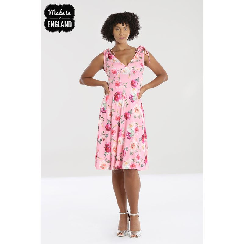 Hell Bunny Ana Rose Floral Summer Pink Dress