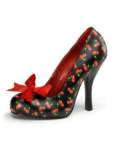 Pin Up Couture Cutiepie 06 Black Red Cherries Shoes