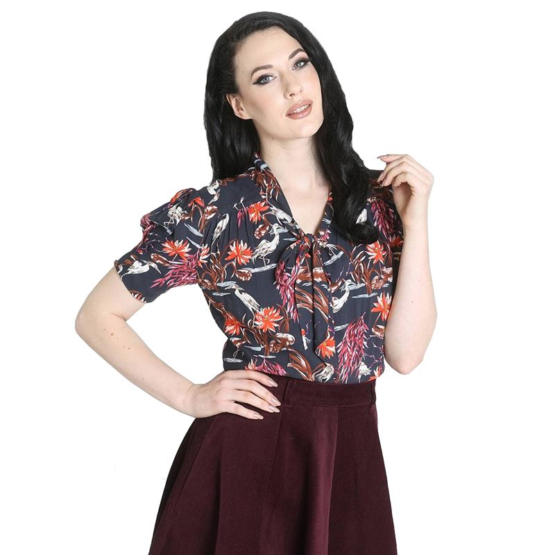 Hell Bunny Heron Bird Pussy Bow Floral Blouse Top