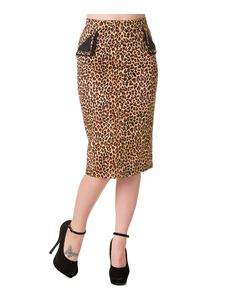 Leopard Print Wiggle Pencil Skirt By Banned