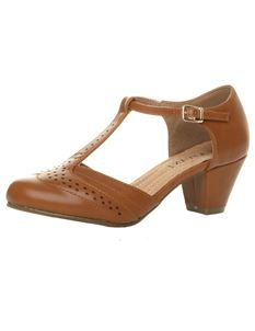 Brown Tan 1940s Mid Heel T Bar Brogue Court Shoes