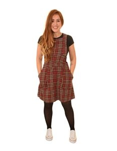 Run & Fly Burgundy Brush Flannel Pinafore Dress
