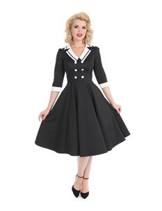 Hearts & Roses Wednesday 40s Black Nautical Tea Dress