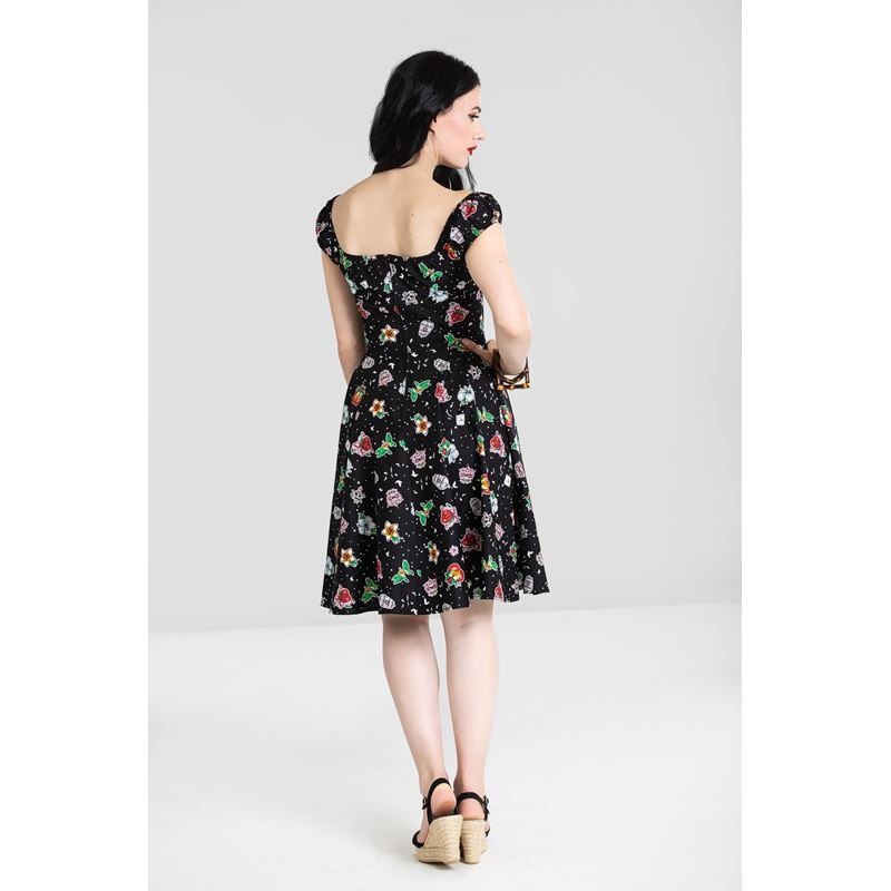 Hell Bunny Lovebird Floral Gypsy Mid Dress