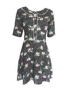 Trollied Dolly Retro Collar Dress - Black Polka Flower