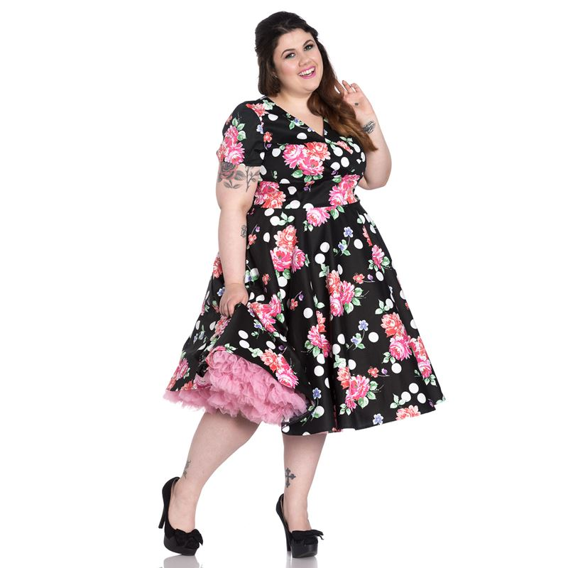 hell bunny carole 50/'s dress floral and polka dot plus size 18 2XL