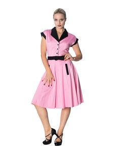 Banned Grease Pink & Black Diner Style Swing Dress