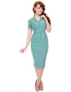 Collectif Caterina Plain Green Pencil Dress
