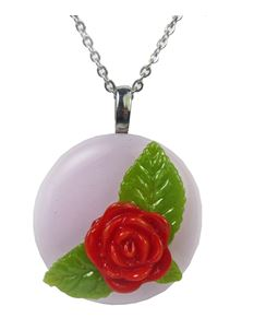 Rowanberry Designs Pink Rose Glass Pendant