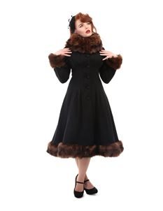 Collectif Pearl Black Textured Faux Fur Collar Coat