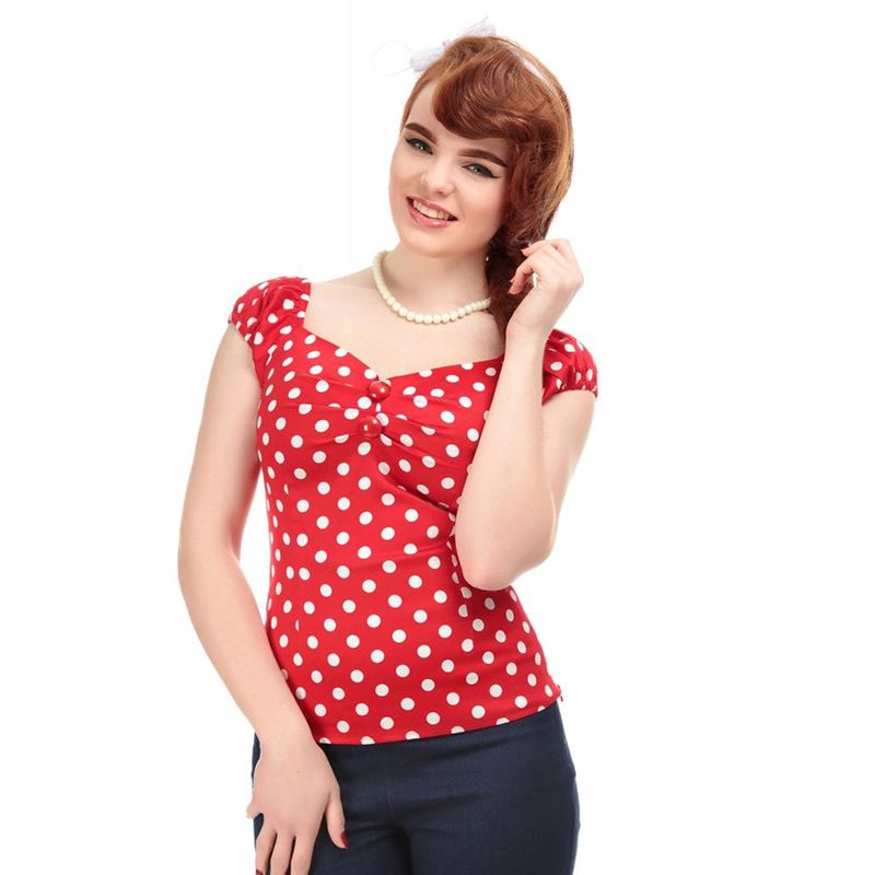 Collectif Dolores Polka Dot Rockabilly 50s Gypsy Top