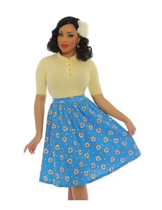 Lindy Bop Pryia Blue Westie Print Swing Skirt