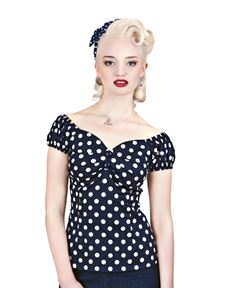 Collectif Dolores 50s Navy Blue & White Polka Dot Top