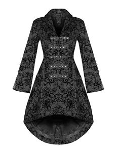 Hearts & Roses Black Flock Tattoo Floral Vintage Coat