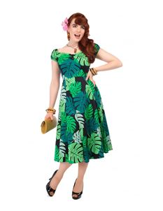 Collectif Mainline Dolores Tahiti Palm Print Doll Dress