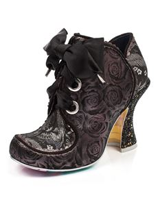 Irregular Choice Baroness Black & Silver Lace Up Heels