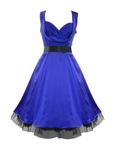 SALE UK 8, 10 & 12 H&R London 50's Satin Cocktail Dress Royal Blue