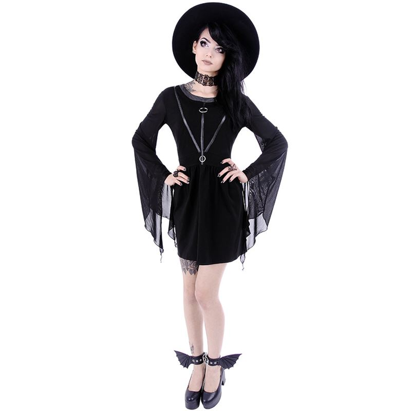 Restyle Coven Tunic Gothic Occult Witch Black Dress