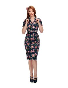Collectif Caterina Bloom Floral 1950s Blue Pencil Dress