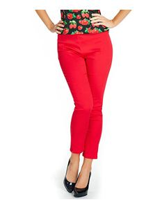Lindy Bop Bethan Red Ankle Grazer Trousers Size UK 10