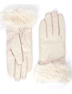 Lindy Bop Lynette Cream Leather Gloves & Faux Fur Small