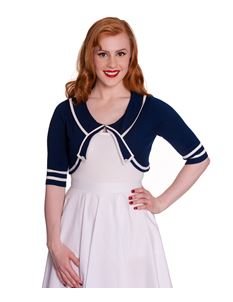 Hell Bunny Rachael Navy Blue Nautical Knitted Cardigan