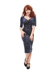 Collectif 40s Trixie Blue Silver Sparkle Pencil Dress