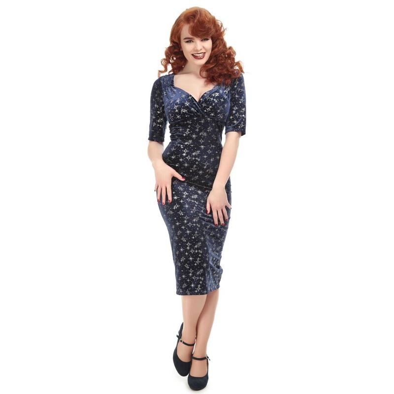 Collectif 40s 50s Trixie Blue And Silver Sparkle Dress