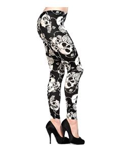 Banned Skull Roses Leggings Alternative Goth Off White