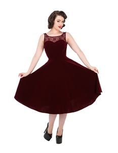 Hearts & Roses 50s Romance Red Velvet Evening Dress
