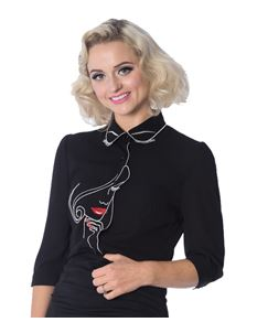 Dancing Days-Banned Black Model Face Embroidered Blouse