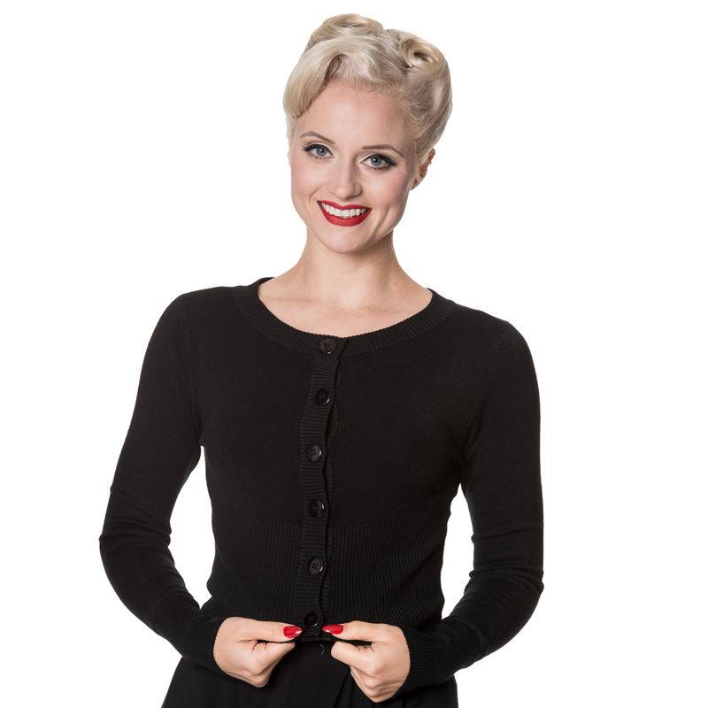 Banned Retro 50's Dolly Round Neck Rockabilly Cardigan