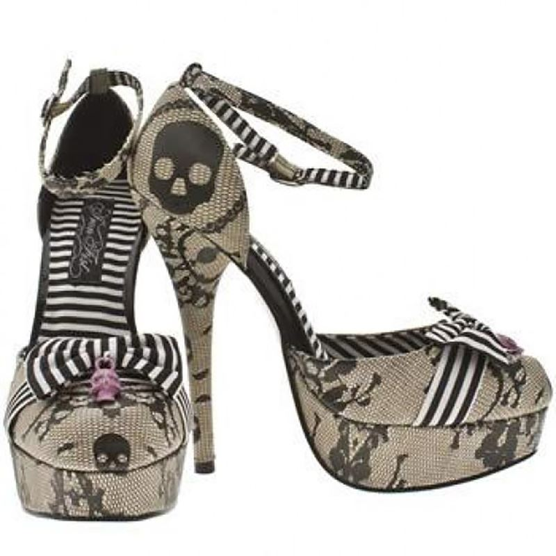 Iron Fist Lacey Days Skull Platform Shoes Heels Ivory