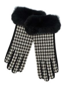 Pia Rossini Black & White Hounds Touch Print With Fur Gloves