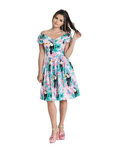 Hell Bunny Raphaella Toucan Floral Mid Summer Dress
