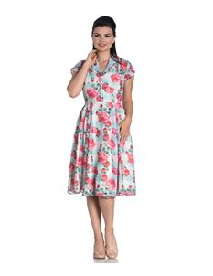 Hell Bunny Suzannah Floral Tartan 40s Chiffon Tea Dress